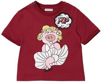 Dolce & Gabbana Pig Print Cotton Jersey T-Shirt