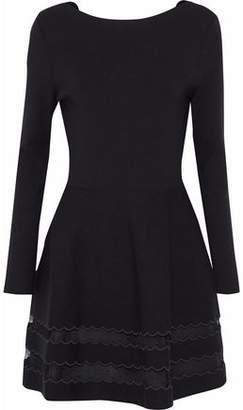 RED Valentino Point D'esprit-Paneled Stretch-Knit Dress