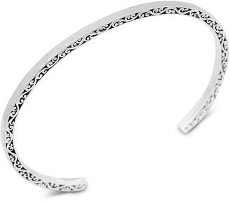 Lois Hill Filigree & Hammered Cuff Bangle Bracelet in Sterling Silver