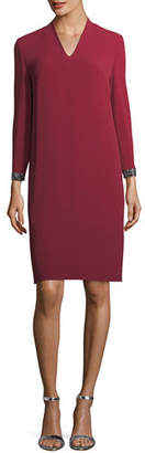 Escada V-Neck Shift Dress with Swarovski Cuffs