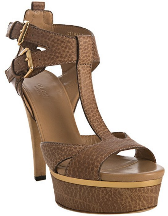 Gucci natural pebble leather 'Iman' platform sandals