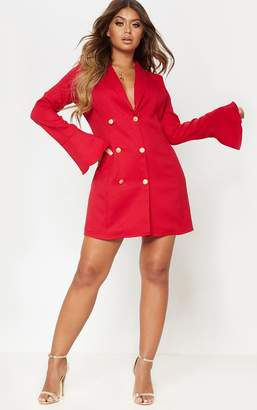 PrettyLittleThing Red Flared Cuff Blazer Dress