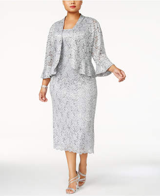 R & M Richards Plus Size Lace Dress & Ruffled Jacket
