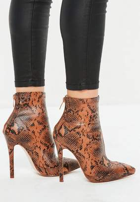 Missguided Tan Snake Print Fitted Heeled Ankle Boots