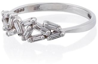 Suzanne Kalan 18K white gold and diamond chevron band