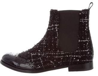 Dolce & Gabbana Tweed Brogue Booties
