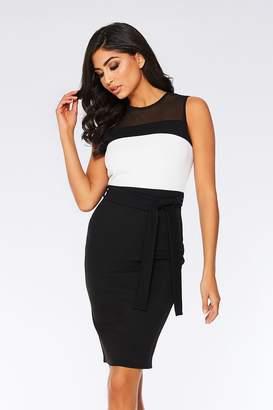 63d8a4b2fd1d at Quiz Clothing · Quiz Black and Cream Contrast Mesh Midi Dress