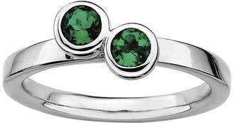 JCPenney FINE JEWELRY Personally Stackable Sterling Silver Double Lab-Created Emerald Ring