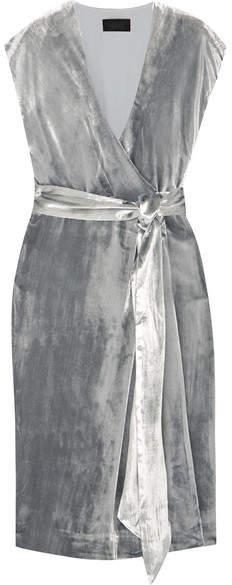J.Crew - Frida Velvet Wrap Dress - Silver