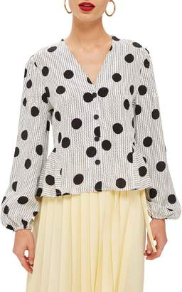 Topshop Spotted Peplum Blouse