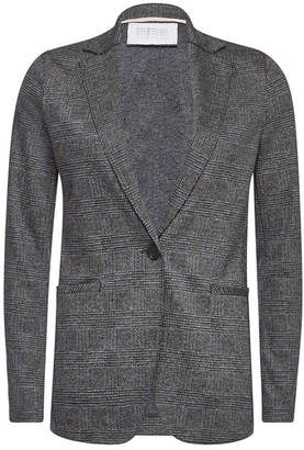 Harris Wharf London Houndstooth Blazer with Virgin Wool and Cotton