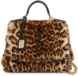 Dolce & Gabbana Sicily Leopard Print Faux Fur Bag