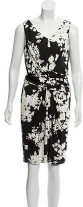 Max Mara Printed Pleated Dress Black Printed Pleated Dress