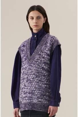 Ganni Hand Knit Wool Oversized Vest