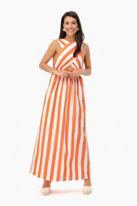 Mara Hoffman Orange Striped Rosario Dress