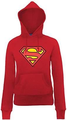 DC Comics Women's Official Superman Shield Long Sleeve Hoodie,(Manufacturer Size:X-Large)