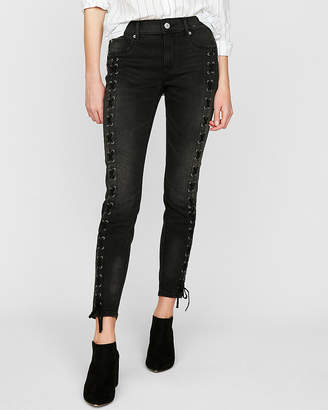 Express Petite Mid Rise Lace-Up Stretch Ankle Jean Leggings