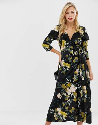 Liquorish wrap front floral midi dress with ruffle collar detail