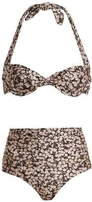 Zimmermann Prima 50's cherry-floral print tie-detail bikini