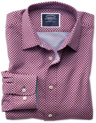 Charles Tyrwhitt Slim Fit Non-Iron Chambray Berry Spot Print Cotton Casual Shirt Single Cuff Size Small