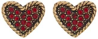 Marc Jacobs Crystal Detail Heart Stud Earrings