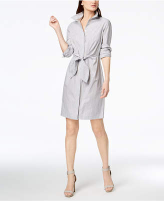 Calvin Klein Cotton Striped Tie-Waist Shirtdress