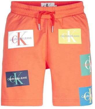 Calvin Klein Boys Boys Orange Jeans Monogram Sweat Short - Orange