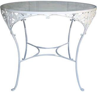 One Kings Lane Vintage Midcentury Iron & Glass Patio Table - Fleur de Lex Antiques