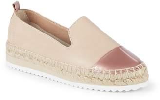 RENVY Women's Leather Cap-Toe Espadrille Loafers