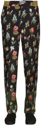 Floral Printed Satin Pants