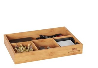 4 Compartment Bamboo Drawer Divider Space Saving Organizer by Lavish Home