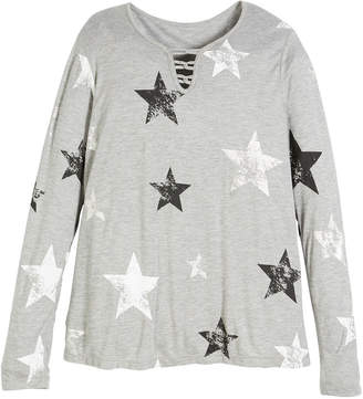 Flowers by Zoe Long-Sleeve Star-Print Top, Size S-XL