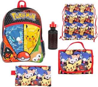 Kids Pokemon Backpack, Lunch Bag, Pencil Case, Water Bottle & Sling Bag Set