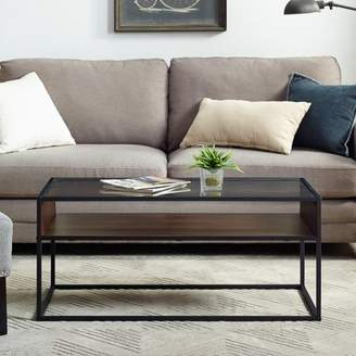 Manor Park Industrial Metal and Glass Coffee Table with Open Shelf, Dark Walnut