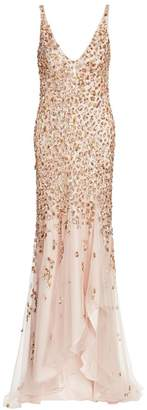 Jenny Packham Beaded V-Neck High-Low Gown