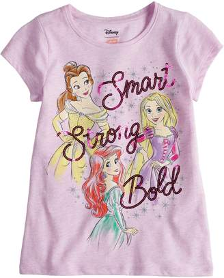 "Disneyjumping Beans Disney Princess Toddler Girl Belle, Rapunzel & Ariel ""Smart Strong Bold"" Sequin Graphic Tee by Disney/Jumping Beans"