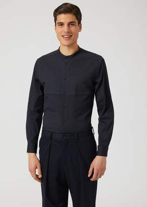 Emporio Armani Stretch Cotton Shirt With Mandarin Collar And Striped Fabric