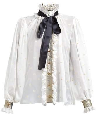 8345463578a1f Dolce   Gabbana Pussy Bow Fil Coupe Silk Blend Chiffon Blouse - Womens -  White Multi