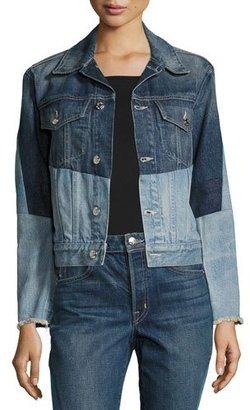 Helmut Lang Patchwork Two-Tone Denim Jacket, Blue $425 thestylecure.com