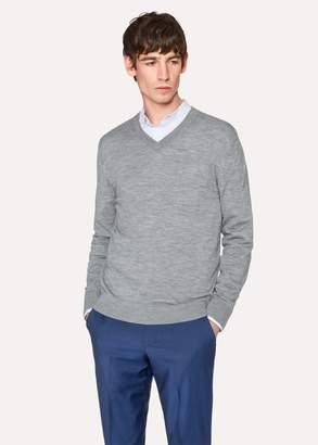 Men's Light Grey Merino Wool V-Neck Sweater