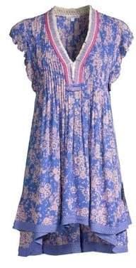Poupette St Barth St Barth Women's Sasha Floral Lace-Trim Mini Dress - Blue Dream - Size Medium