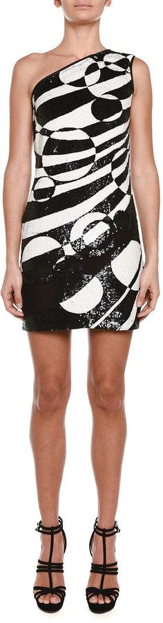 Emilio PucciEmilio Pucci Allover Beaded One-Shoulder Mini Dress