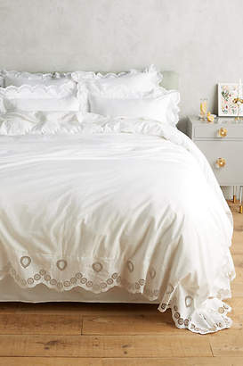 Anthropologie Eyelet Embroidered Duvet Cover