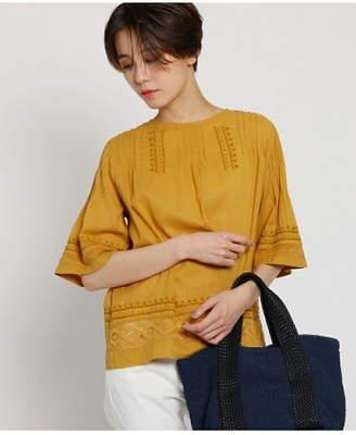 Dessin (デッサン) - Dessin(Ladies) コットンボイル5分袖刺繍レースブラウス デッサン シャツ/ブラウス