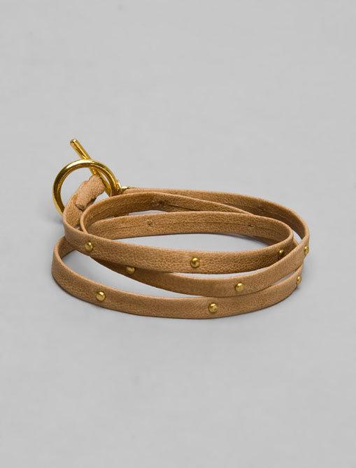 Gorjana Graham Tan Leather Wrap Bracelet/Gold Studs