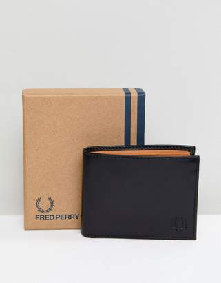 Fred Perry Contrast Internal Leather Wallet In Black