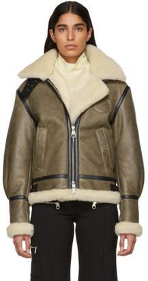 Chloé Brown Shearling Aviator Jacket