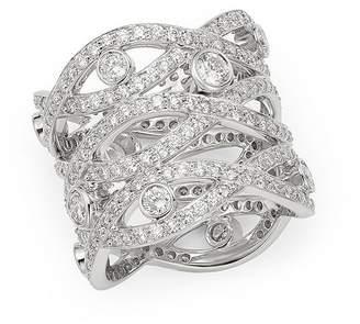 Roberto Coin 18K White Gold Cento Diamonds Baci Ring