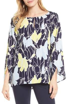Chaus Aerial Flowers Keyhole Top
