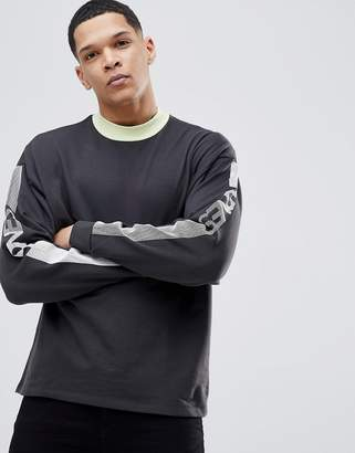 Asos Design Oversized Sweatshirt With Contrast Ringer & Sleeve Text Print